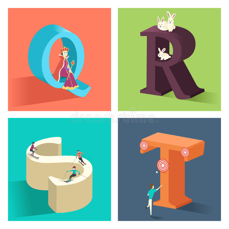 Έννοια αλφάβητων σε τρισδιάστατο ελεύθερη απεικόνιση δικαιώματος