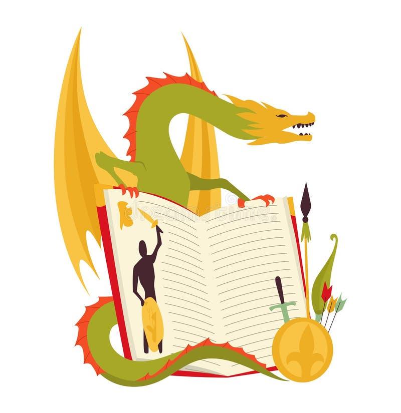 Έννοια βιβλίων παραμυθιού - απεικόνιση παιδιών με τον κακό δράκο, γενναίος πολεμιστής Φαντασία που έρχεται στη ζωή παιδιά ελεύθερη απεικόνιση δικαιώματος