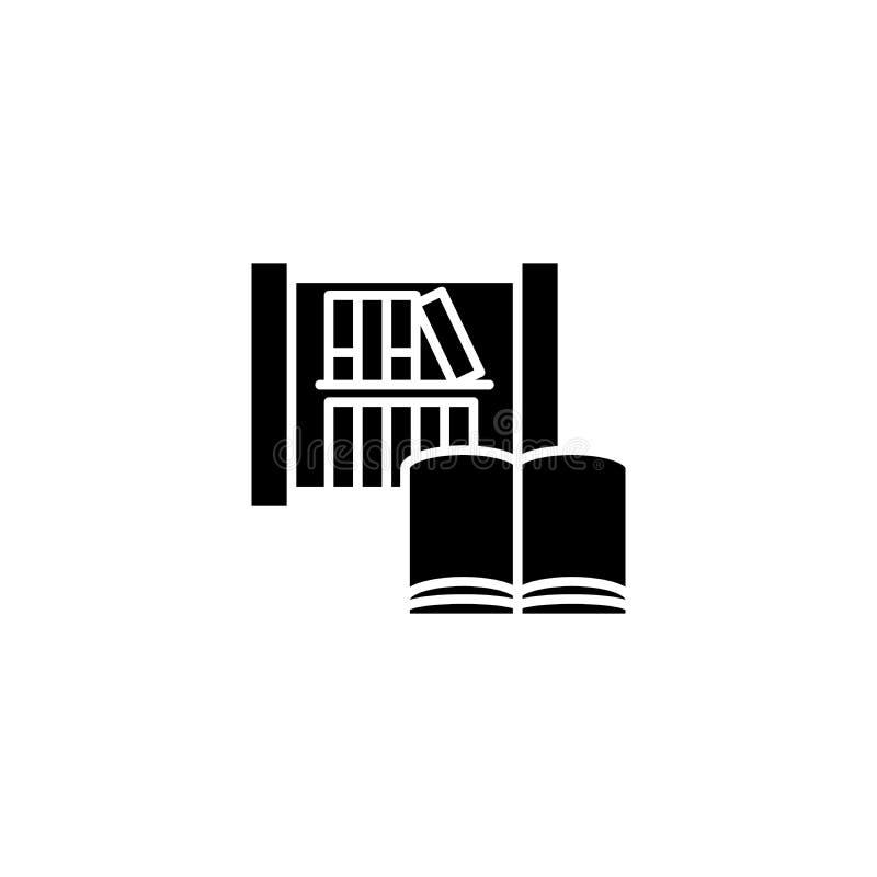 Έννοια βιβλιοθήκης και μαύρη εικονιδίων βιβλίων Βιβλιοθήκη και επίπεδο διανυσματικό σύμβολο βιβλίων, σημάδι, απεικόνιση ελεύθερη απεικόνιση δικαιώματος