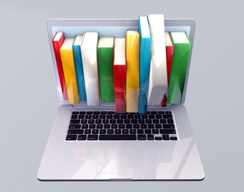 Έννοια βιβλιοθηκών EBook με το φορητό προσωπικό υπολογιστή και τα βιβλία ελεύθερη απεικόνιση δικαιώματος