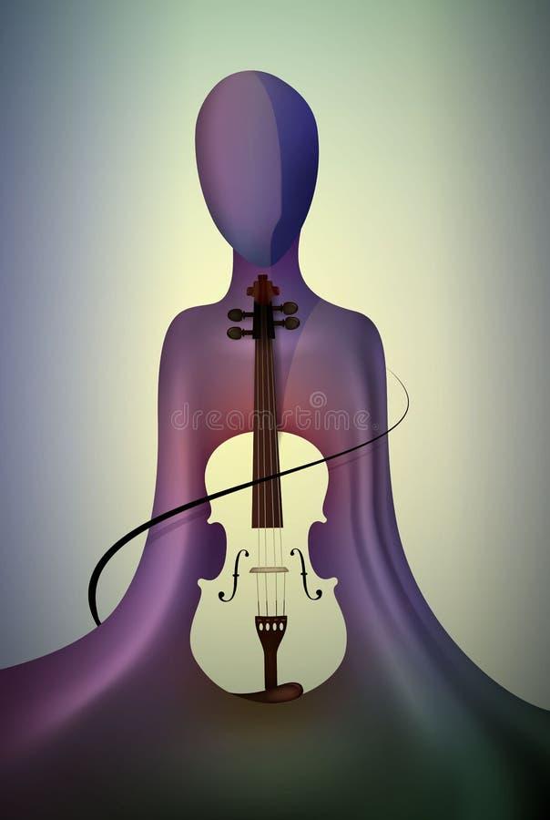 Έννοια βιολιστών, μουσική μέσα, μουσικός και σύγχρονης τέχνης, ατόμων  απεικόνιση αποθεμάτων