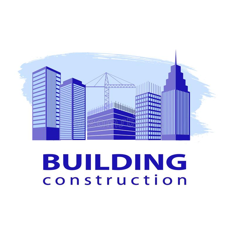 Έννοια βιομηχανίας εργασίας κατασκευής Λογότυπο οικοδόμησης κτηρίου στο μπλε Σκιαγραφίες των πολυκατοικιών σε ένα κτύπημα βουρτσώ απεικόνιση αποθεμάτων