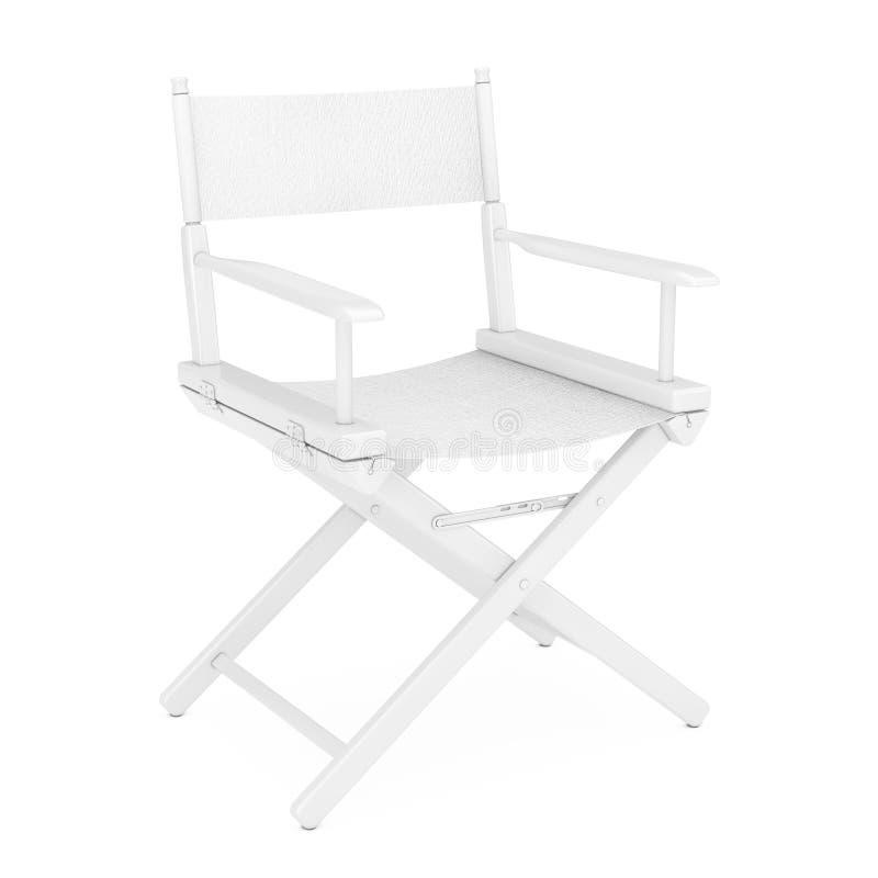 Έννοια βιομηχανίας κινηματογράφου Λευκός ξύλινος διευθυντής Chair στο ύφος αργίλου τρισδιάστατη απόδοση ελεύθερη απεικόνιση δικαιώματος