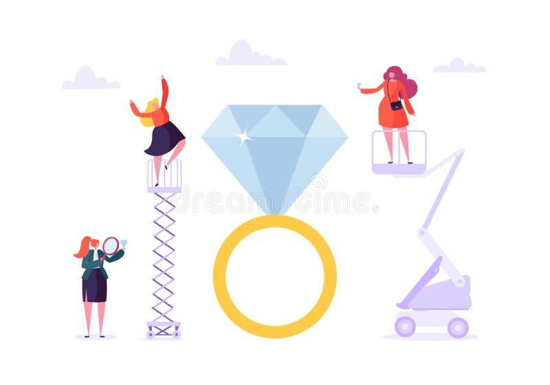 Έννοια βιομηχανίας κοσμήματος Διαμάντια χαρακτήρα γυναικών διανυσματική απεικόνιση