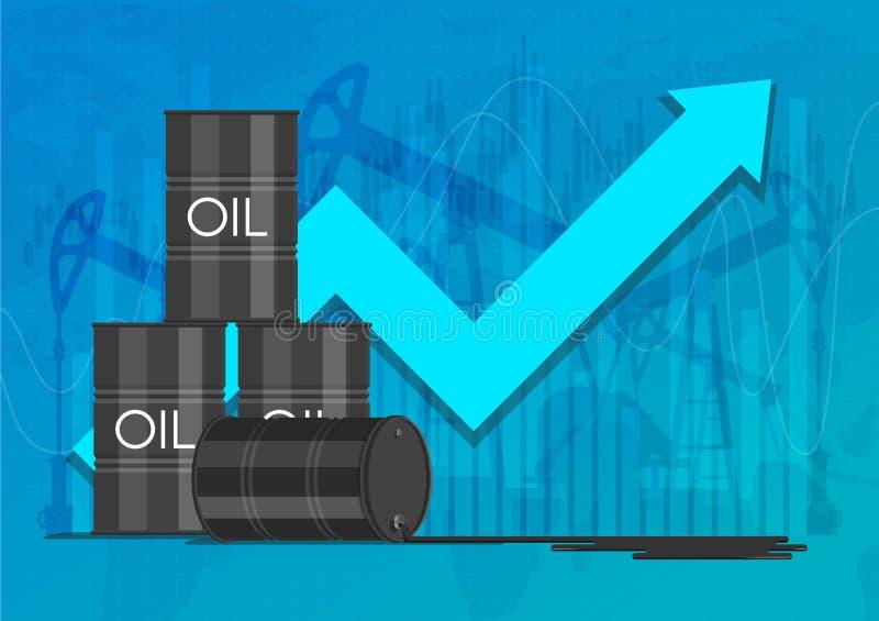 Έννοια βιομηχανίας πετρελαίου Αύξηση του διαγράμματος τιμών Διανυσματική απεικόνιση χρηματοοικονομικών αγορών διανυσματική απεικόνιση