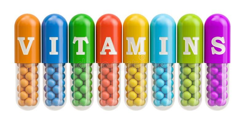 Έννοια βιταμινών, τρισδιάστατη απόδοση απεικόνιση αποθεμάτων