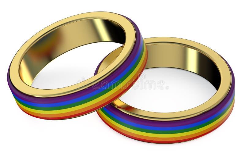 Έννοια γάμου ομοφυλοφίλων με τα δαχτυλίδια ουράνιων τόξων διανυσματική απεικόνιση