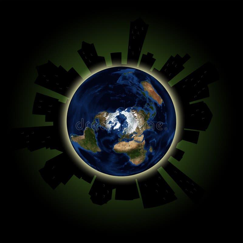 Έννοια γήινης ώρας: Σφαιρικό γεγονός φω'των έξω σε μεγάλες πόλεις απεικόνιση αποθεμάτων