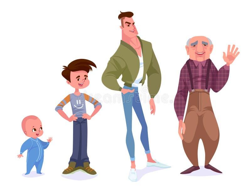 Έννοια γήρανσης των αρσενικών χαρακτήρων Ο κύκλος της ζωής από το childho διανυσματική απεικόνιση