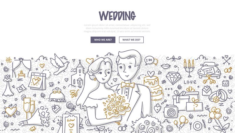 Έννοια γαμήλιου Doodle απεικόνιση αποθεμάτων