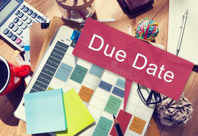 Έννοια γεγονότος διορισμού προθεσμίας οφειλόμενης ημερομηνίας στοκ εικόνες