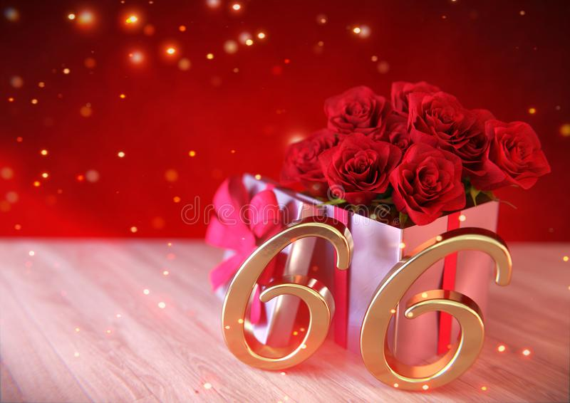 Έννοια γενεθλίων με τα κόκκινα τριαντάφυλλα στο δώρο στο ξύλινο γραφείο εξήντα-έκτος 66ος τρισδιάστατος δώστε διανυσματική απεικόνιση