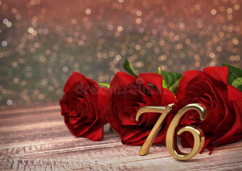 Έννοια γενεθλίων με τα κόκκινα τριαντάφυλλα στο ξύλινο γραφείο εβδομήντα-έκτος 76ος τρισδιάστατος δώστε διανυσματική απεικόνιση