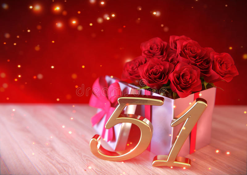 Έννοια γενεθλίων με τα κόκκινα τριαντάφυλλα στο δώρο στο ξύλινο γραφείο πενήντα-πρώτα 51$ος τρισδιάστατος δίνει απεικόνιση αποθεμάτων