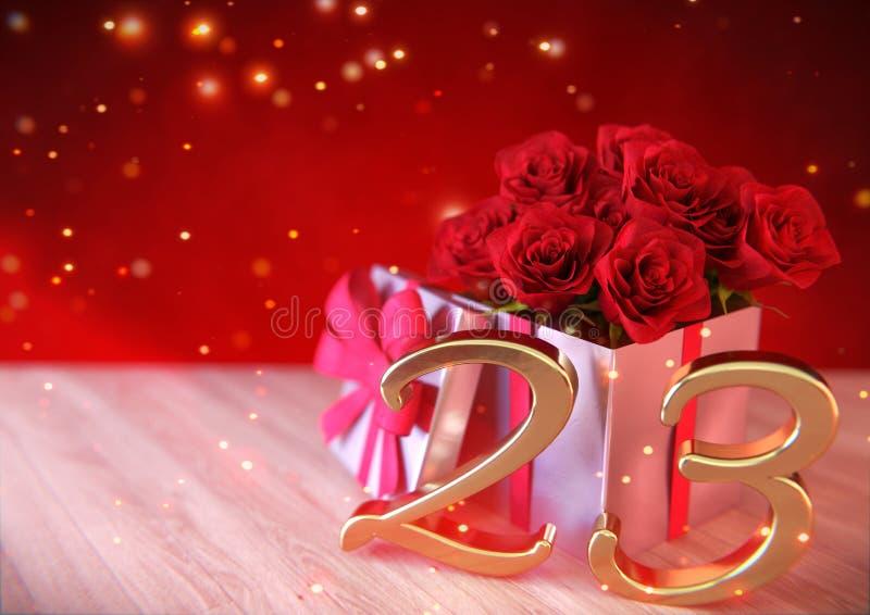 Έννοια γενεθλίων με τα κόκκινα τριαντάφυλλα στο δώρο στο ξύλινο γραφείο εικοστός τρίτος 23$ος τρισδιάστατος δώστε διανυσματική απεικόνιση