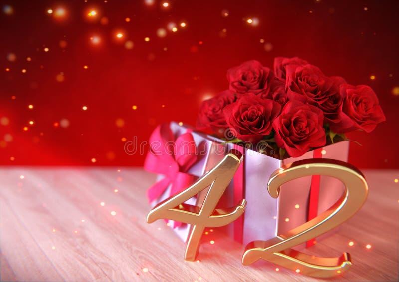 Έννοια γενεθλίων με τα κόκκινα τριαντάφυλλα στο δώρο στο ξύλινο γραφείο σαράντα-δευτερευόντως 42$ος τρισδιάστατος δώστε διανυσματική απεικόνιση