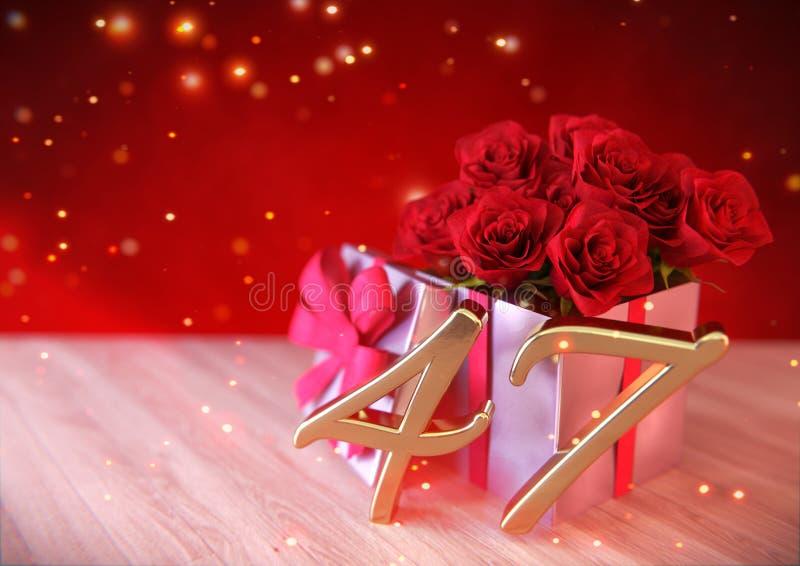 Έννοια γενεθλίων με τα κόκκινα τριαντάφυλλα στο δώρο στο ξύλινο γραφείο σαράντα-έβδομο 47ος τρισδιάστατος δώστε απεικόνιση αποθεμάτων