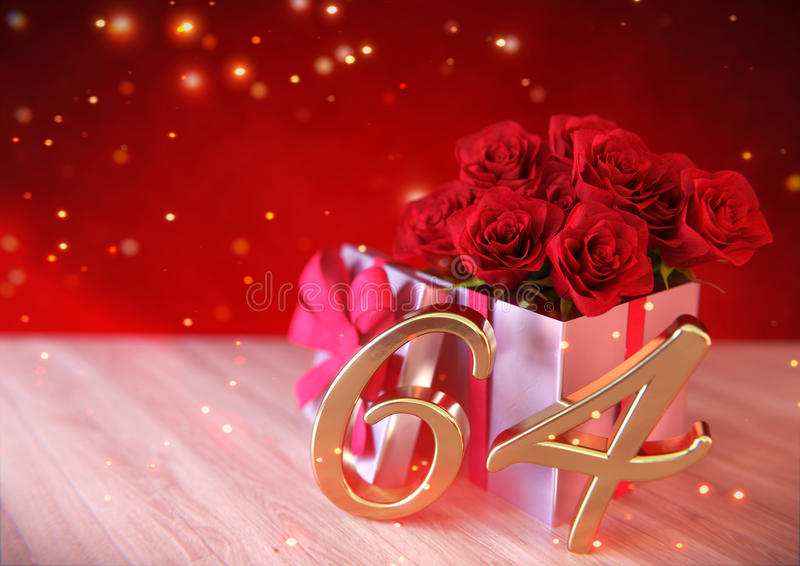 Έννοια γενεθλίων με τα κόκκινα τριαντάφυλλα στο δώρο στο ξύλινο γραφείο εξήντα-τέταρτος 64ος τρισδιάστατος δώστε ελεύθερη απεικόνιση δικαιώματος