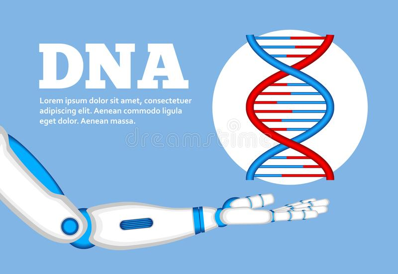 Έννοια γενετικής εφαρμοσμένης μηχανικής με το χέρι ρομπότ ελεύθερη απεικόνιση δικαιώματος