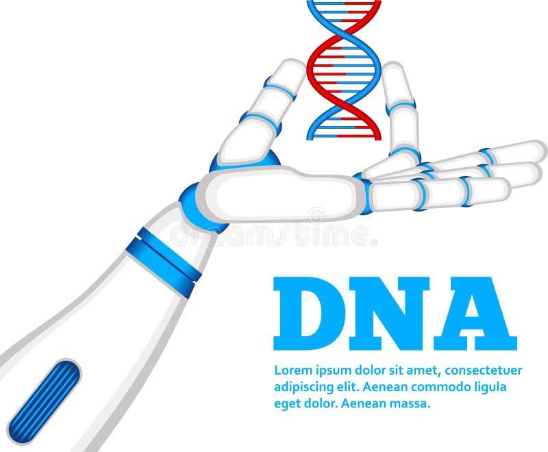 Έννοια γενετικής εφαρμοσμένης μηχανικής με το χέρι ρομπότ διανυσματική απεικόνιση