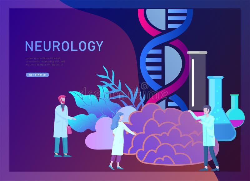 Έννοια γενετικής νευρολογίας Επίπεδη ιατρική ομάδα γιατρών ανθρώπων ύφους μικρή που εργάζεται, κατασκευάζοντας το DNA, έρευνα απεικόνιση αποθεμάτων
