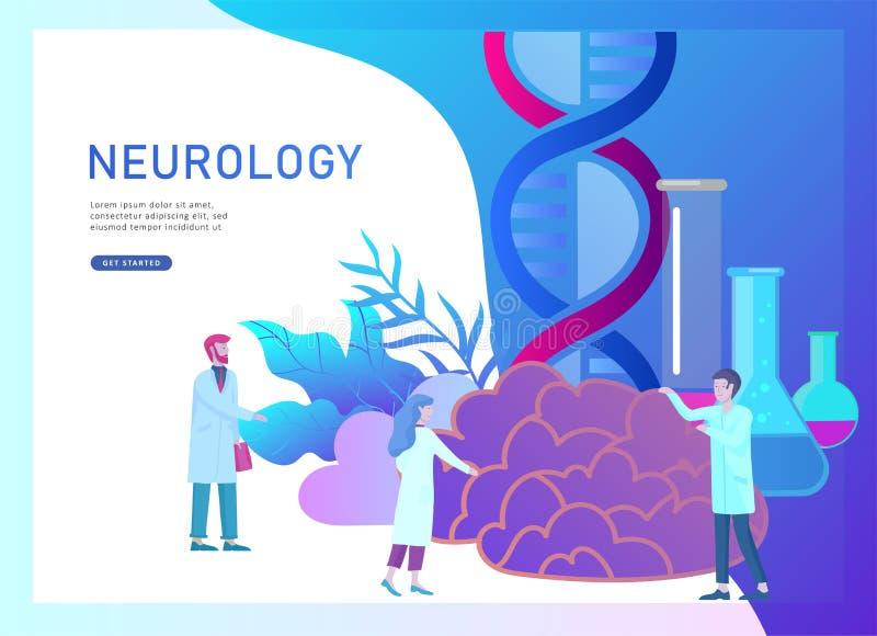 Έννοια γενετικής νευρολογίας Επίπεδη ιατρική ομάδα γιατρών ανθρώπων ύφους μικρή που εργάζεται, κατασκευάζοντας το DNA, έρευνα ελεύθερη απεικόνιση δικαιώματος