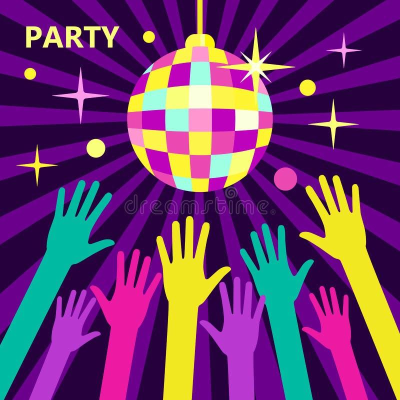Έννοια για τα κόμματα και τα φεστιβάλ μουσικής Λάμποντας σφαίρα disco, άρρωστη διανυσματική απεικόνιση
