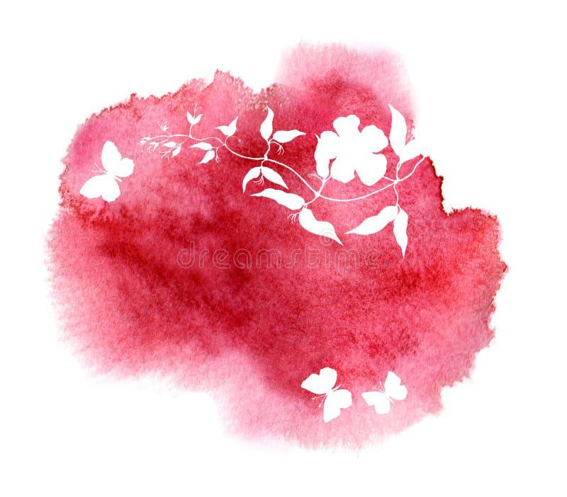 Έννοια για τη θεραπεία SPA, aromatherapy, τίτλος μασάζ Λουλούδι, πεταλούδες Μοναδικό σχέδιο watercolor απεικόνιση αποθεμάτων