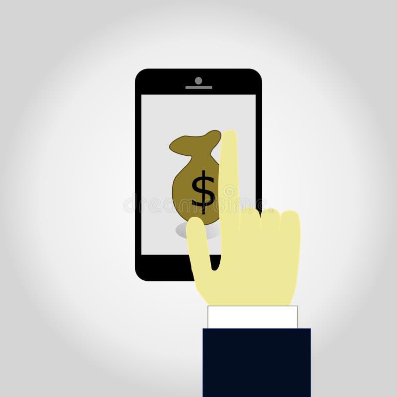Έννοια για τις κινητές τραπεζικές εργασίες και τη σε απευθείας σύνδεση πληρωμή Διανυσματική επίπεδη απεικόνιση διανυσματική απεικόνιση