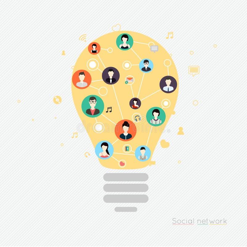 Έννοια για το κοινωνικό δίκτυο Έννοιες για τα εμβλήματα Ιστού και τυπωμένος διανυσματική απεικόνιση