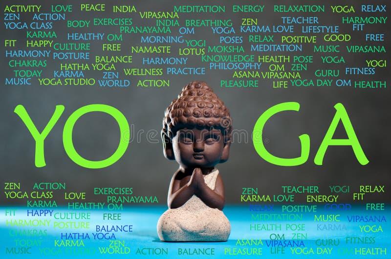 Έννοια γιόγκας και περισυλλογής Μωρό Βούδας meditate, με το σύννεφο λέξης στοκ εικόνες