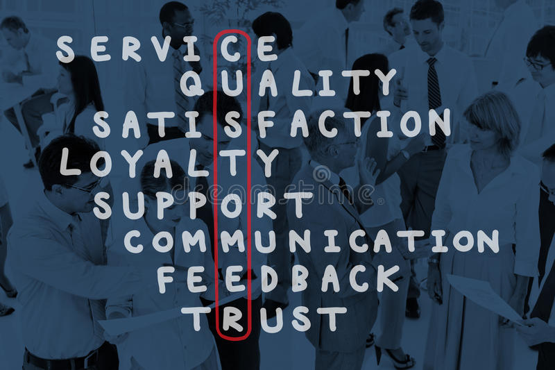 Έννοια γρίφων σταυρόλεξων ικανοποίησης υποστήριξης εξυπηρέτησης πελατών στοκ εικόνα