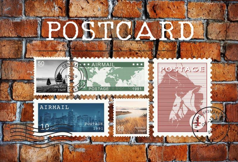 Έννοια γραμματοσήμων επιστολών καρτών ταχυδρομείου αεροπορικής αποστολής στοκ εικόνες