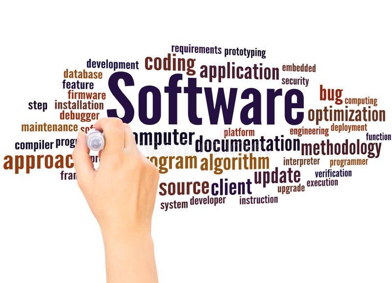 Έννοια γραψίματος χεριών σύννεφων λέξης λογισμικού διανυσματική απεικόνιση