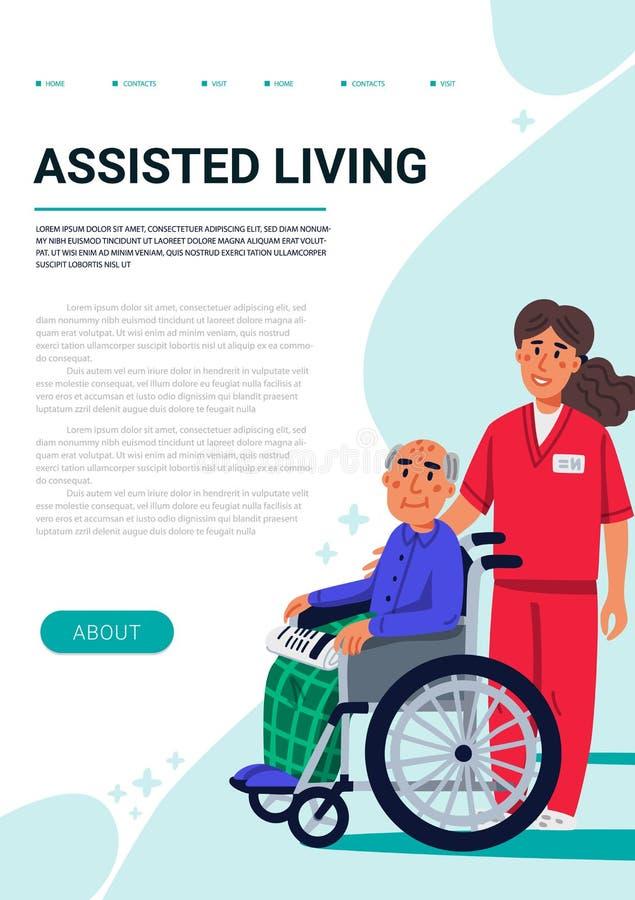 Έννοια διαβίωσης Assisred Ηληκιωμένος στην αναπηρική καρέκλα και yound νοσοκόμα Κάθετο πρότυπο ιστοσελίδας Κοινωνικός λειτουργός  ελεύθερη απεικόνιση δικαιώματος