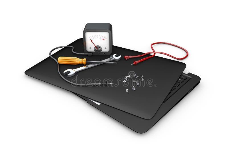 Έννοια διαγνωστικού και της επισκευής Εργαλεία και lap-top, τρισδιάστατη απεικόνιση ελεύθερη απεικόνιση δικαιώματος