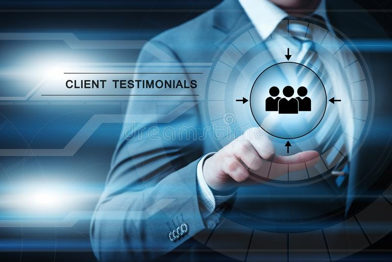 Έννοια Διαδικτύου επιχειρησιακής τεχνολογίας ανατροφοδότησης Γνώμης testimonials πελατών στοκ εικόνες