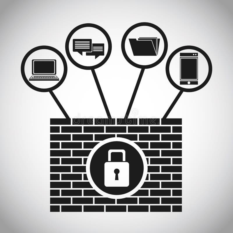 Έννοια Διαδικτύου στοιχείων συστημάτων ασφαλείας διανυσματική απεικόνιση