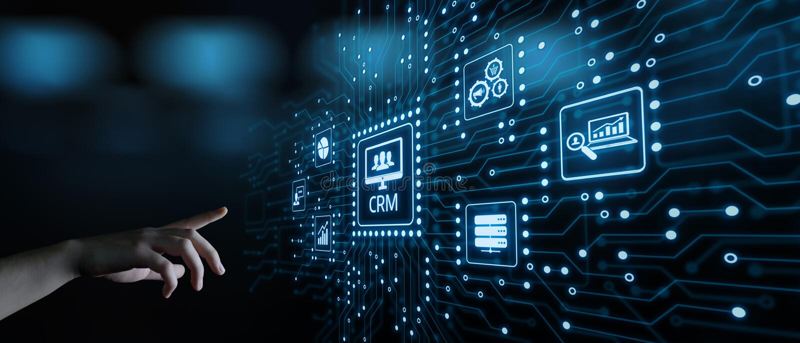 Έννοια Διαδικτύου Techology διοικητικών επιχειρήσεων σχέσης πελατών CRM στοκ εικόνες