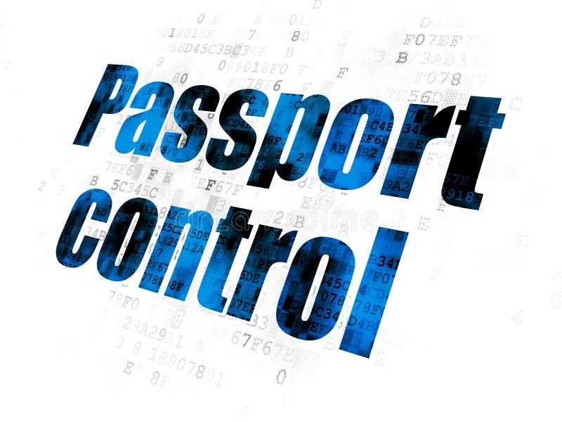 Έννοια διακοπών: Έλεγχος διαβατηρίων στο ψηφιακό υπόβαθρο απεικόνιση αποθεμάτων