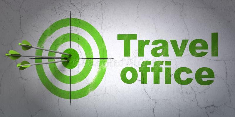 Έννοια διακοπών: γραφείο στόχων και ταξιδιού στο υπόβαθρο τοίχων διανυσματική απεικόνιση