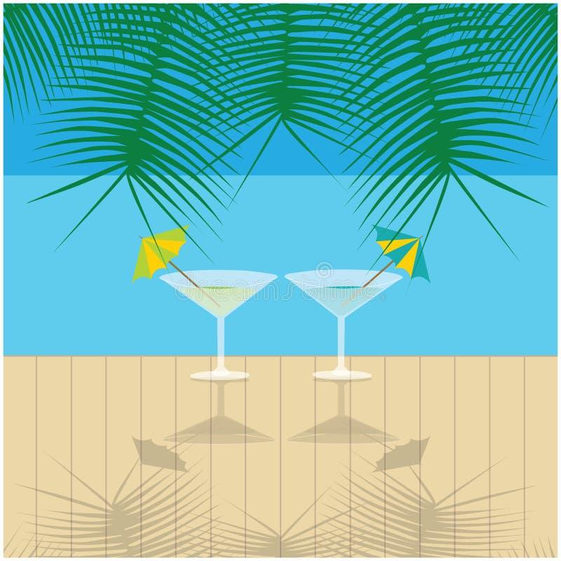 Έννοια διακοπών με το ποτό στην παραλία απεικόνιση αποθεμάτων