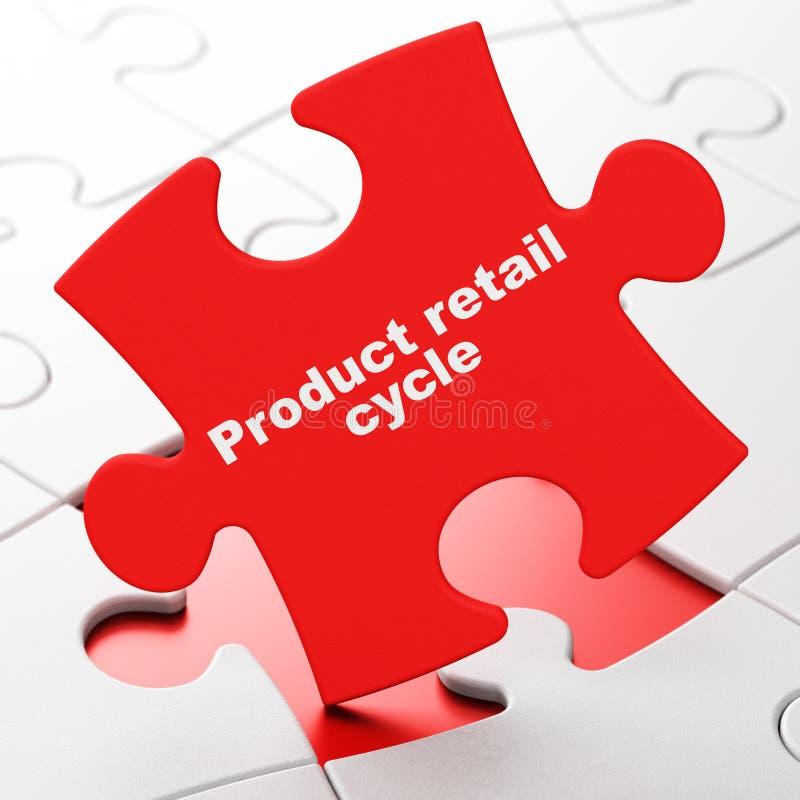 Έννοια διαφήμισης: Λιανικός κύκλος προϊόντων στο υπόβαθρο γρίφων διανυσματική απεικόνιση