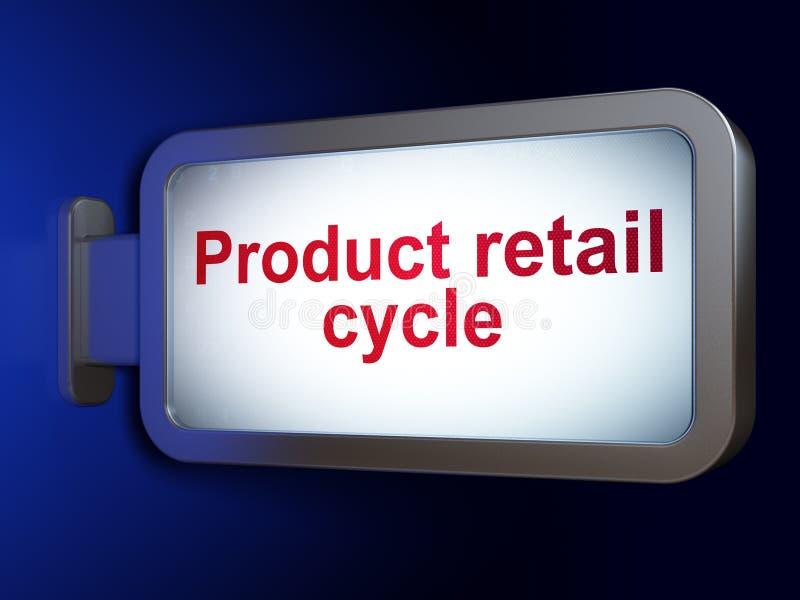 Έννοια διαφήμισης: Λιανικός κύκλος προϊόντων στο υπόβαθρο πινάκων διαφημίσεων απεικόνιση αποθεμάτων