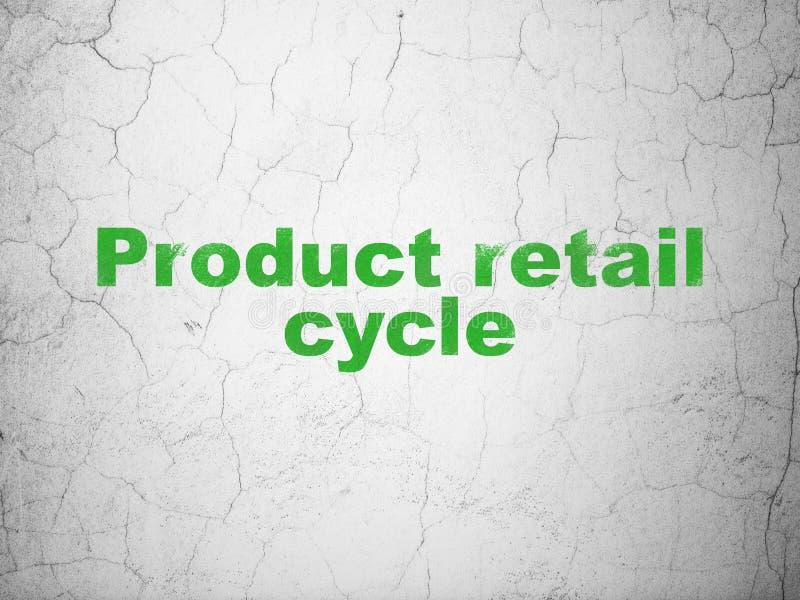 Έννοια διαφήμισης: Λιανικός κύκλος προϊόντων στο υπόβαθρο τοίχων διανυσματική απεικόνιση