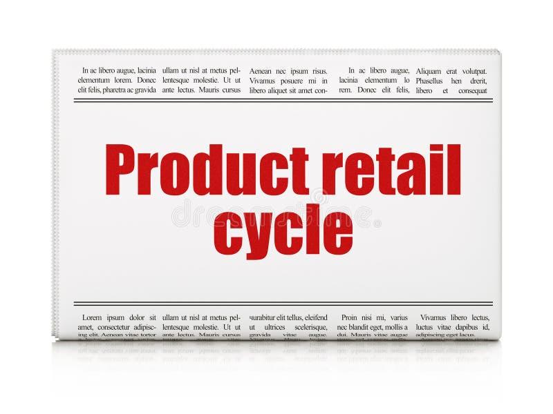 Έννοια διαφήμισης: λιανικός κύκλος προϊόντων τίτλων εφημερίδων απεικόνιση αποθεμάτων