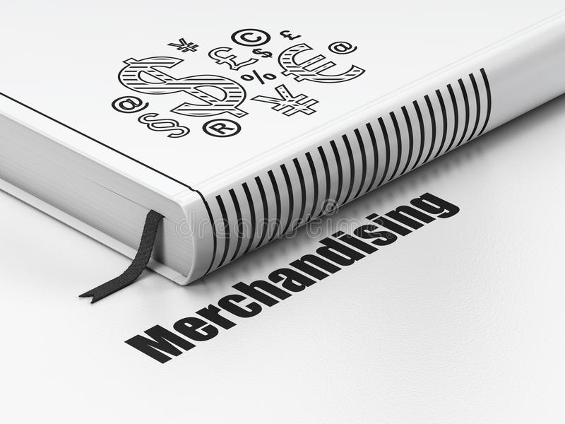 Έννοια διαφήμισης: σύμβολο χρηματοδότησης βιβλίων, που εμπορεύεται στο άσπρο υπόβαθρο στοκ εικόνα