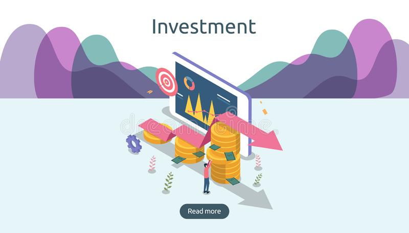 έννοια διαχείρισης ή απόδοσης της επένδυσης σε απευθείας σύνδεση επιχείρηση στρατηγική για την οικονομική ανάλυση isometric διανυ ελεύθερη απεικόνιση δικαιώματος