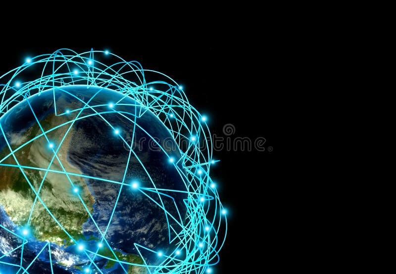 Έννοια Διαδικτύου παγκόσμιου επιχειρηματικού πεδίου και σημαντικών διαδρομών αέρα βασισμένων στα πραγματικά στοιχεία στοκ φωτογραφίες