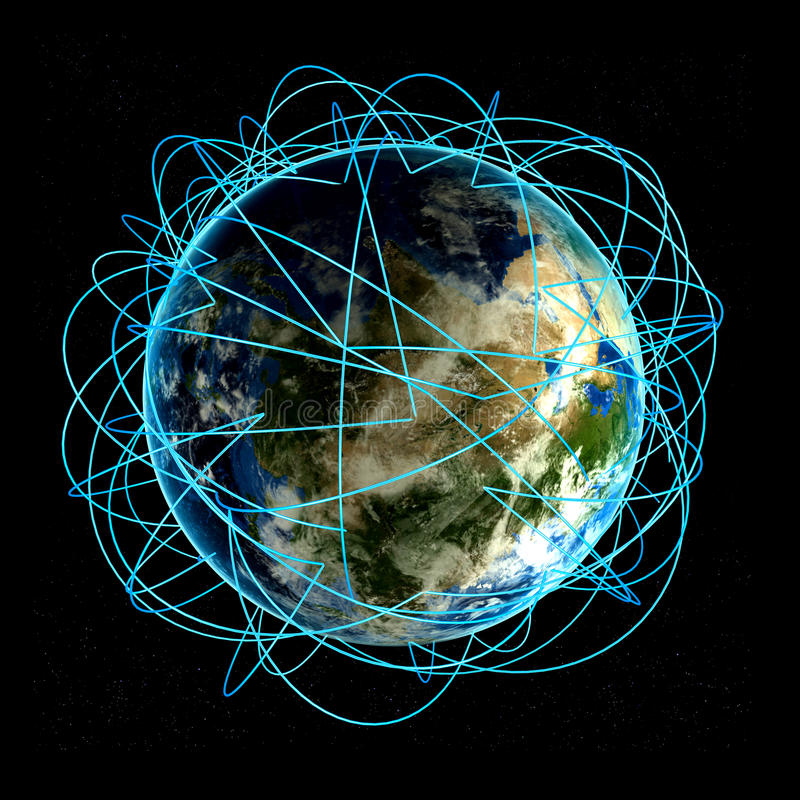 Έννοια Διαδικτύου παγκόσμιου επιχειρηματικού πεδίου και σημαντικών διαδρομών αέρα βασισμένων στα πραγματικά στοιχεία διανυσματική απεικόνιση